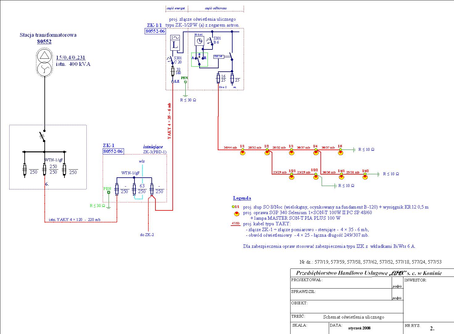 Schemat oświetlenia ulicznego