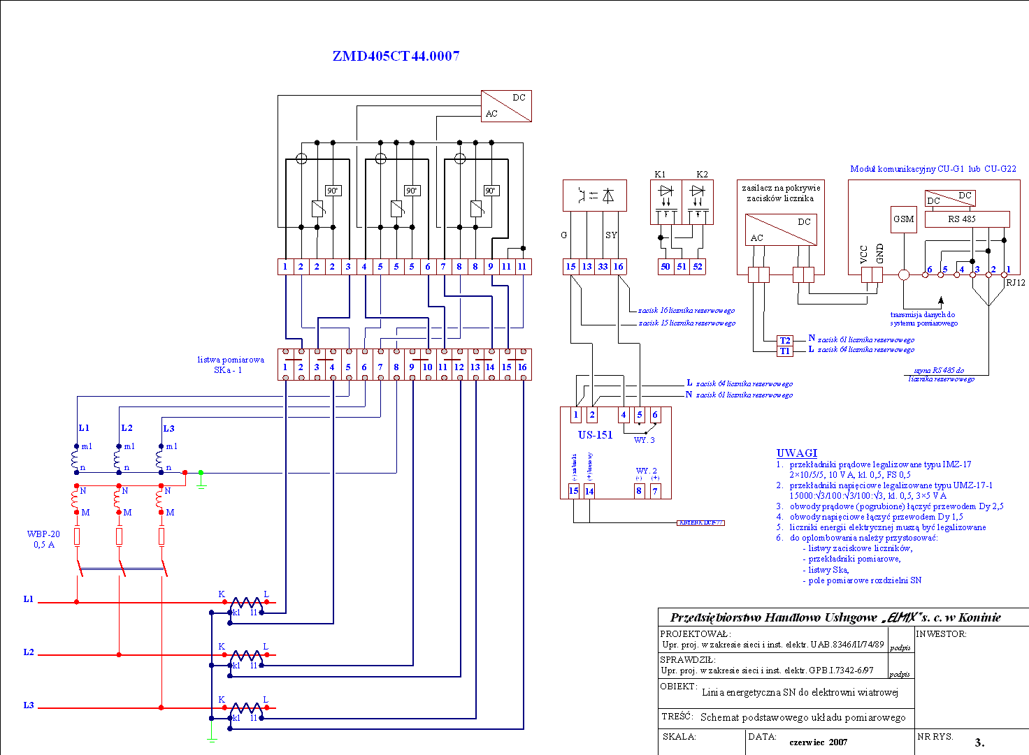 Schemat układu pomiarowego elektrowni wiatrowej