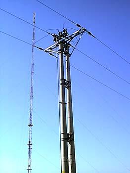 Słup odłącznikowy wlinii SN 15 kV zasilającej RTCN Żółwieniec